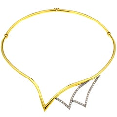 Necklace Yellow 18 Karat Gold and White with Diamonds