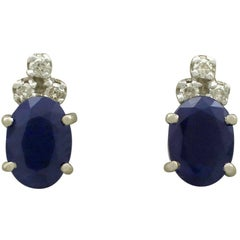 1960s 1.82 Carat Sapphire and Diamond 18 Karat White Gold Stud Earrings