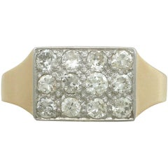 1920s 1.28 Carat Diamond 18 Karat Yellow Gold Gent's Ring