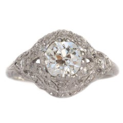 GIA Certified 0.97 Carat Diamond Platinum Engagement Ring