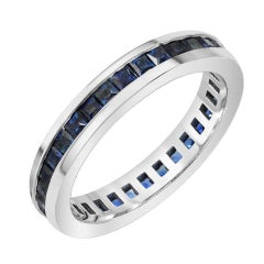 Boorma 14 Karat Princess Cut Royal Blue Sapphire Channel Set Eternity Band