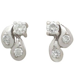 1970s Diamond and 18 Karat White Gold Stud Earrings