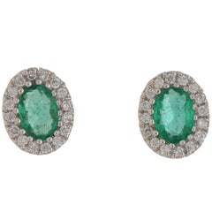 Emerald Diamond Oval Gold Cluster Stud Earrings