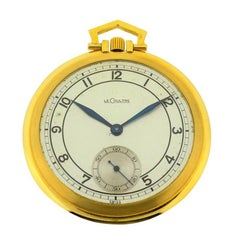 LeCoultre Yellow Gold Original Silvered Dial Art Deco Pocket Watch