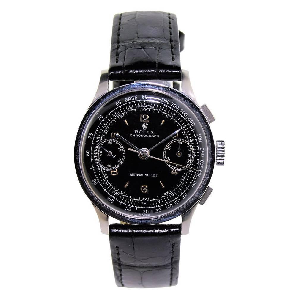 Rolex Stainless Steel Black Dial Two Register Chronograph Manual Watch