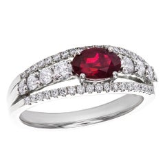 1.03 Carat Oval Cut Ruby Diamond Gold Ring