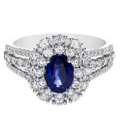 1.19 Carat Sapphire Diamond Gold Halo Engagement Ring