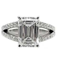 4.15 Carat GIA G VVS1 Emerald Cut Diamond Platinum Split Shank Engagement Ring