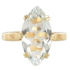 French 1960s 3.40 Carat Aquamarine 18 Karat Yellow Gold Ring