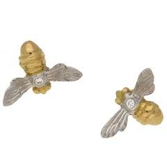 18 Karat Gold Diamond Bee Stud Earrings