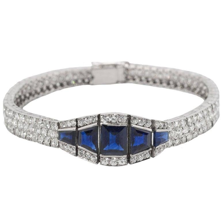 Art Deco Sapphire Diamond Platinum Bracelet For Sale