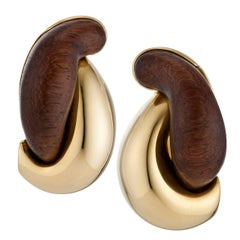 Seaman Schepps Wood and Gold Earrings
