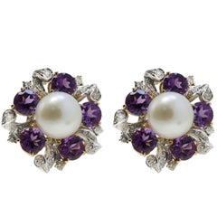 14 Karat Rose Gold and White Gold, Amethyst, Diamonds and Pearl, Stud Earrings