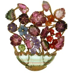 Vase Yellow Gold Tourmaline Brooch