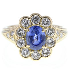 Blue Sapphire Diamond Oval Cluster Gold Ring