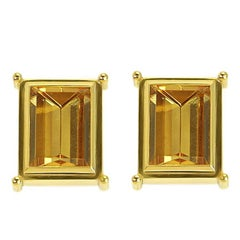 Certified 16.46 Carat Citrine Yellow Gold Studs