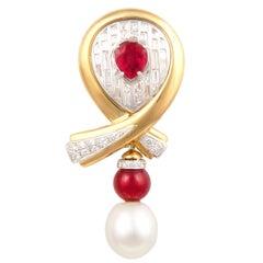 Ella Gafter Ruby Pearl Diamond Bow Brooch Pin