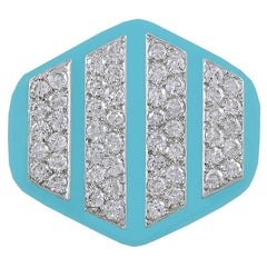David Webb Diamond and Blue Enamel Ring