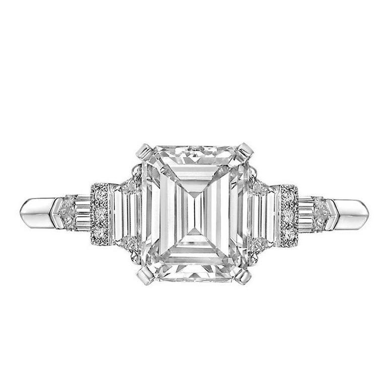Raymond Yard 1.61 Carat Emerald-Cut Diamond Ring For Sale