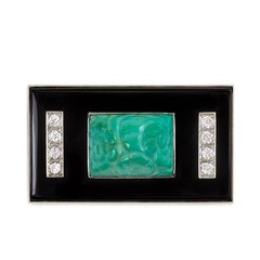 Art Deco Onyx Plaque Brooch with Turquoise and Diamonds