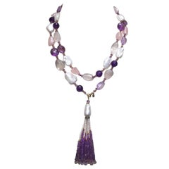 Rose Quartz, Amethyst, Pearl Beaded sautoir with Tassel and 14 k Gold Clasp
