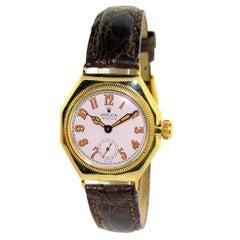Rolex Yellow Gold Oyster Octagonal Original Oversized Crown Manual Wristwatch