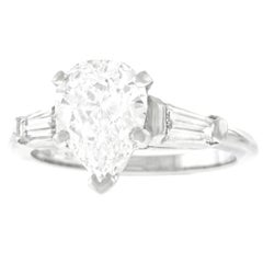 1.69 Carat D Color Pear Shape Diamond Set Engagement Platinum Ring GIA