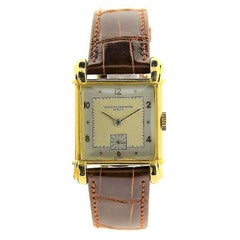 Vacheron Constantin Yellow Gold Sterling Silver Dial Art Deco Manual Wristwatch