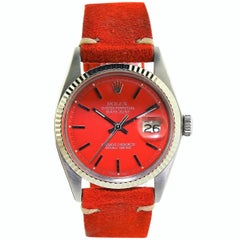 Rolex White Gold Stainless Steel Datejust Custom Red Dial Wristwatch