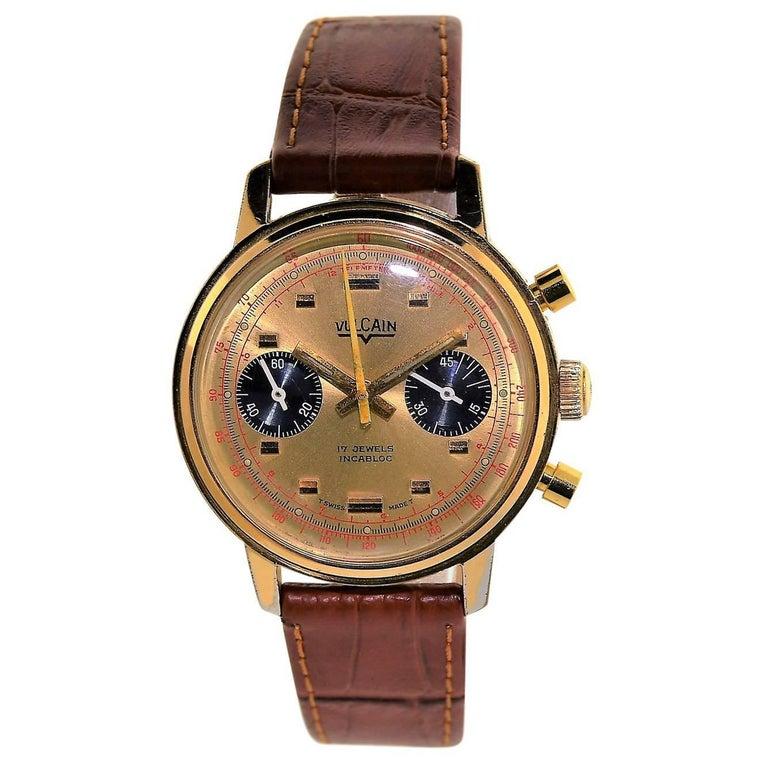 Vulcain Yellow Gold Filled Chronograph Original Dial Manual Wristwatch