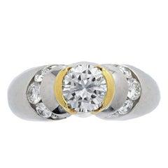 Contemporary Design Platinum and 18 Karat Gold Diamond Ring