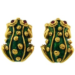 1980s David Webb Ruby Enamel Yellow Gold Frog Earrings