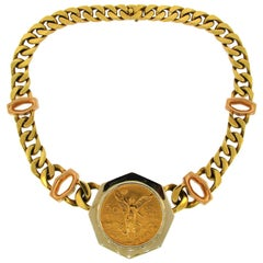 Bulgari Gold Coin Pendant on Link Chain Necklace