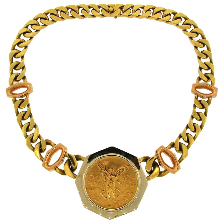 Bulgari gold coin pendant on link chain necklace for sale at 1stdibs bulgari gold coin pendant on link chain necklace for sale mozeypictures Images