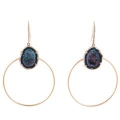 Karolin Rose Gold Agate Geode White Diamond Hook Pavé Hoop Earrings