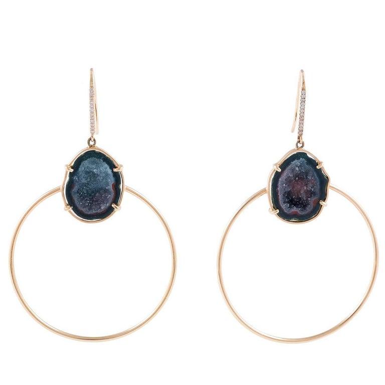 Karolin Rose Gold Agate Geode White Diamond Hook Pavé Hoop Earrings For Sale