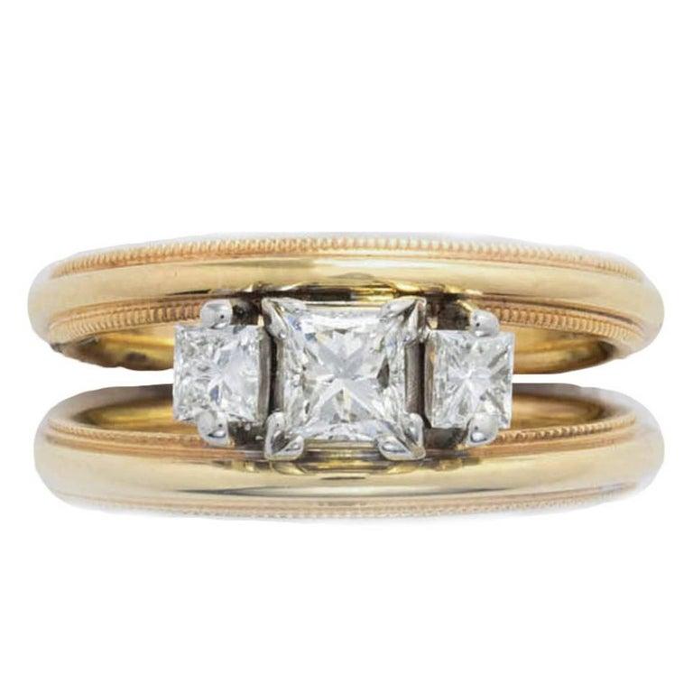 Rose Gold Double Band Princess Cut Diamond Ring