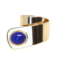 1960s Cartier Dinh Van 18 Karat Gold and Lapis Lazuli Modernist Ring