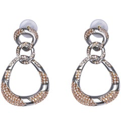 Pink and White Diamond and Gold Pendant Earrings