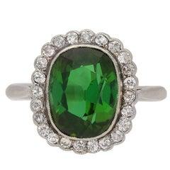 Edwardian Tourmaline and Diamond Cluster Ring