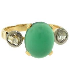Victorian Era Cabochon Chrysoprase and Rose Cut Diamond Gold Ring, 19th Century