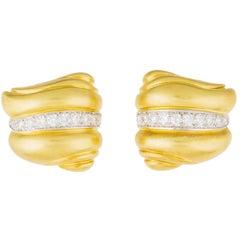 Barry Kieselstein-Cord Caviar Diamond Brushed Gold Earrings