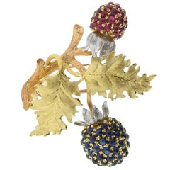Buccellati Sapphire Ruby Gold Berry Brooch
