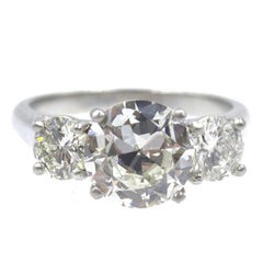 Three-Stone Round Brilliant Cut Diamond Platinum Engagement Ring
