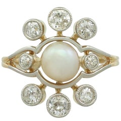 1930s Pearl and Diamond Yellow Gold Cluster Ring