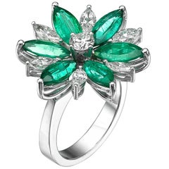Marquise Cut Floral Motif Diamond & Emerald Ring