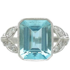 1930s Antique 3.18 Carat Aquamarine and Diamond White Gold Dress Ring