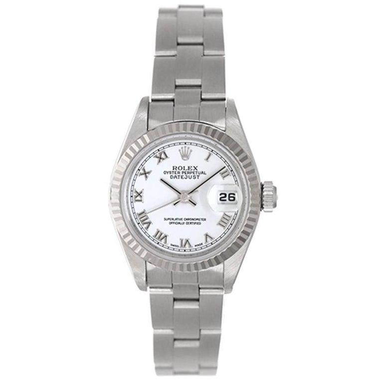 Rolex Ladies White Gold Stainless Steel Datejust Wristwatch Ref 79174