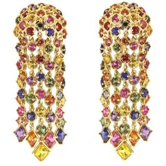 Multi-Color Sapphire Cascading Waterfall Earrings