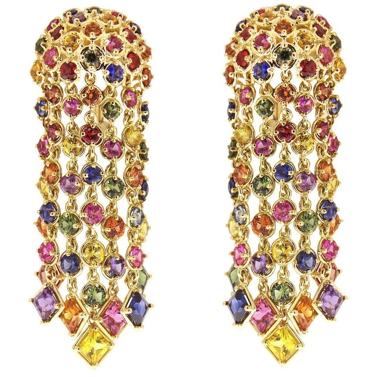 Valentin Magro Multi-Color Sapphire Cascading Waterfall Earrings For ...